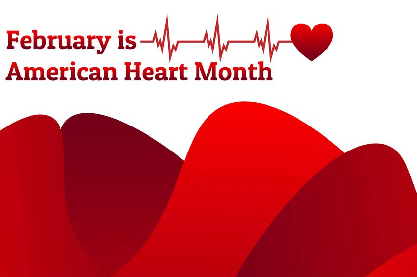 February Is American Heart Month. Template For Background, Banner, Card, Poster With Text Inscription. Vector Eps10 Illustration.