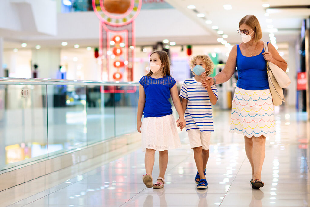 Shutterstock M 1631951077 Face Mask Mall Socila Distance Walking Empty 1
