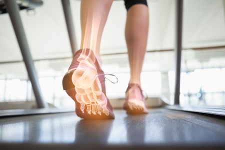 44790491 Digital Composite Of Highlighted Foot Bones Of Jogging Woman