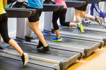 46688557 Fit People Jogging On Treadmills At The Gym