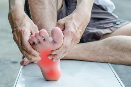 47923181 Pain In The Foot. Massage Of Male Feet. Pedicures.