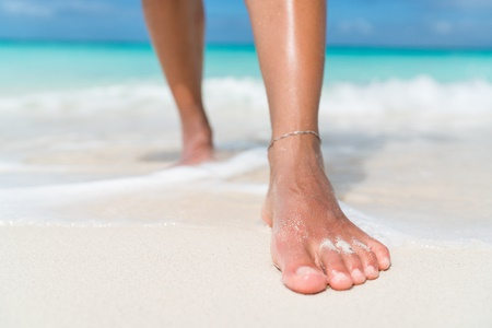 53759591 S Ankle Barefoot Beach Bracelet Feet Foot Healthy Walk Legs Leg Nails Nail Ocean Outdoors Sand Sea Skin Step Sun Toes Walk Walking Water Wave Waves Wet
