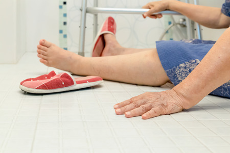 61012349 Elderly Falling In Bathroom Because Slippery Surfaces